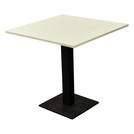 Tisch Design, hochglanz weiß, mit einem Mittelbein für 4 Personen, LxBxH 75x75x74 cm,  Bodenplatte 40x40cm